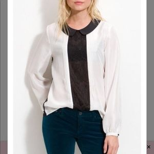 Tops - Silky trouve lace panel and back shirt